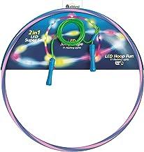 alldoro 63023 Set van 2, 1 Hoop Fun banden Ø 72 cm blauw/roze & 1 Jump Rope groen ca. 2,4 meter, hoepel & springtouw met l...