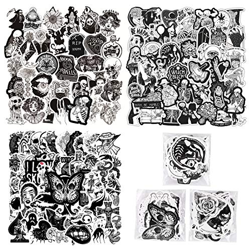 150 PCS Cool Gothic Stickers for Water Bottle Laptop Skateboard Notebook,Black White Skull Stickers for Teens Kids Girls Boys Adults,Trendy Waterproof Decals for Phone Computer Car Bicycle
