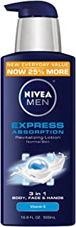 NIVEA Men Express Absorption Revitalizing Lotion, 16.9 Ounce