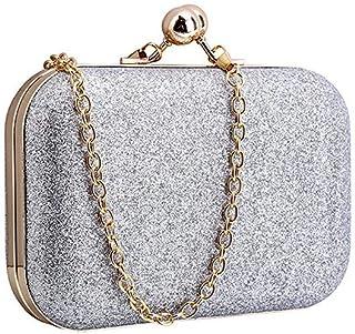 Yuwegr Damen Crossbody Tasche Mode Wild Pailletten Messenger Bag Umhängetaschen Dinner Mini Chain Schultertaschen(Silber)