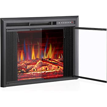"""R.W.FLAME 36"""" Electric Fireplace Insert, Traditional Antiqued Build in Recessed Electric Stove Heater, Glass Door and Mesh Screen,Touch Screen,Remote Control with Timer, Colorful Flame Option"""