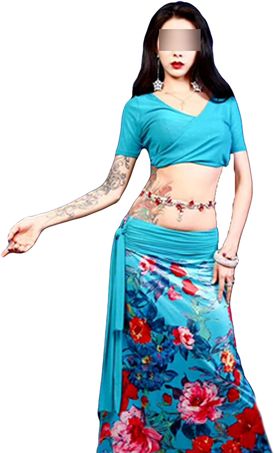 Belly Dance Suit Female Adult High-end Temperament Top Long Skirt Performance Clothes Set