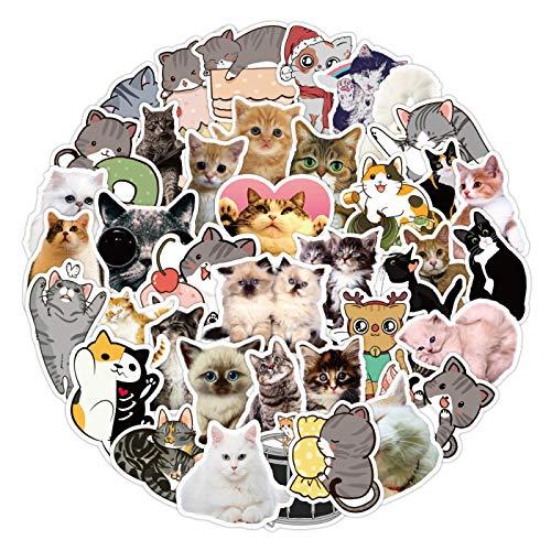 YMSD Pegatinas de gato lindo de dibujos animados para portátil carro de equipaje, pegatinas decorativas de pared de vidrio 50 piezas
