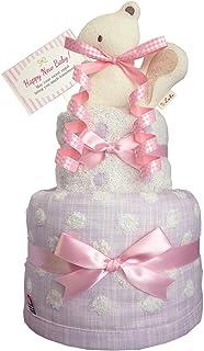 おむつケーキのKanonBaby's オーガニック 出産祝い 人気 女の子 マスコットガラガラ 今治タオル ガーゼ 赤ちゃん 内祝い 誕生日プレゼント ギフトセット (パンパースS20 (出産祝い用に))