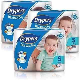 Drypers Wee Wee Dry Diapers, S, Case, 3 packs x 82 Count