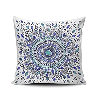 Hoooottle Custom Royal Modern Blue and White Indigo Flowered Mandala Euro Square Pillowcase Zippered One Side Printed 26x26 Inches Throw Pillow Case Cushion Cover