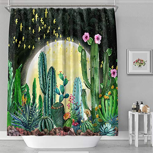 Night time Desert Moon and Cactus Shower Curtain