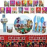 Yisscen Vajilla de Fiesta Roblox Cumpleaños Fiestas Decorar Suministros Desechable Platos Servilletas Tazas Cuchara Tenedores Cuchillos Pajitas Mantel Pancarta 82 Piezas