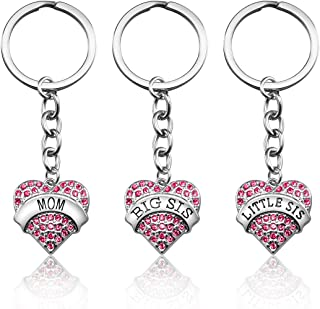 Mom Birthday Gift from Daughter - 3PCS Stainless Steel Mother Big Sis Little Sis Keychain Gifts Set for Mother's Day (Crystal Heart)