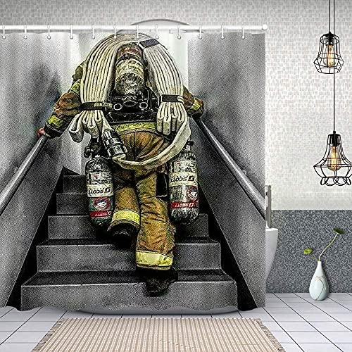 Duschvorhang,Feuerwehrmann Feuerwehr Flaggenmuster Digitaldruck,Enthält 12 Duschvorhanghaken waschbar,Wasserdicht Bad Vorhang für Badezimmer Badewanne 150X180cm