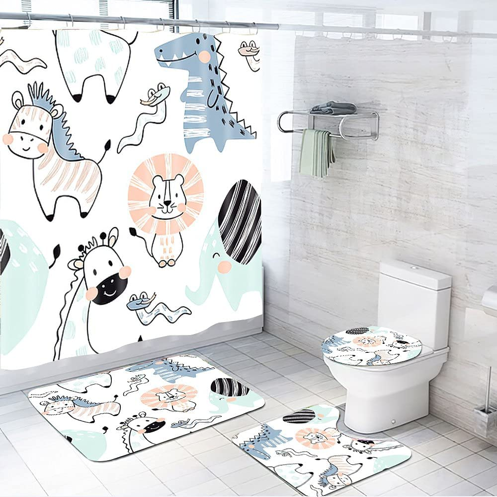price Lion 4 Piece Shower Curtain Eleph Sets for Bathroom Price reduction Giraffe