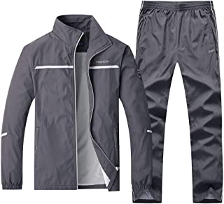 Gocgt Mens Workout Long-Sleeved Jogging Running Two Piece Set Outfits Work Out Full Zip Two Piece Set