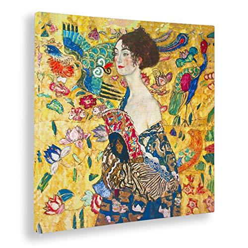 Giallobus - Quadro - Gustav Klimt - Signora con ventaglio - Stampa su Tela Canvas - Pronto da Appendere - Vari Formati - 70x70 cm