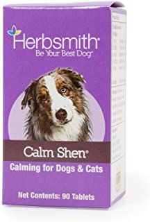 Herbsmith Calm Shen – Herbal Blend for Dogs & Cats – Natural Anxiety Remedy for Dogs & Cats – Feline & Canine Calming Supplement – 90 Tablets