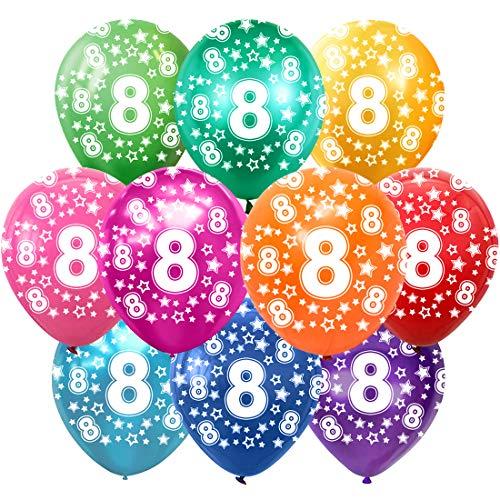 8 Cumpleaños Globos Decoracion Cumpleaños 8 Años Globos de látex, 30 cm, Colores Surtidos, Paquete de 30