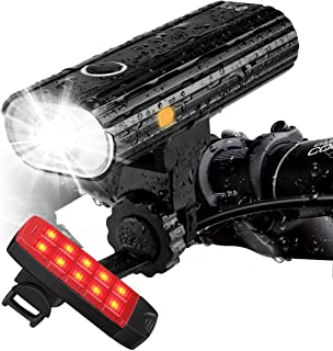 Te-Rich Rechargeable Bike Lights Front and Back - Ultra Bright Bicycle Headlight and Taillight...
