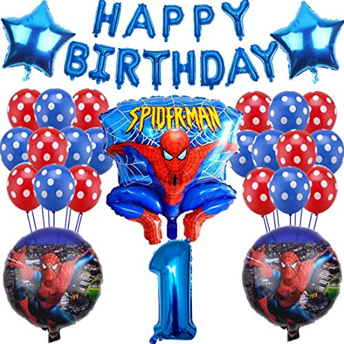 27Pcs Spiderman Party Supplies - Miotlsy Spiderman Themed Birthday Decorations for Boys Birthday Banners and Balloons for Birthday Baby Shower