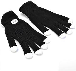 SODIAL 7 Mode LED Rave Light Finger Lighting Flashing Glow Gloves Black