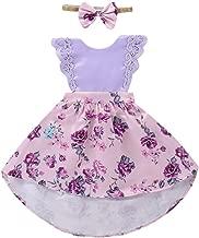 RUIVE Toddler Bodysuit Baby Kids Girls Sleeveless Lace Rose Floral Print Jumpsuit Summer Romper+Headband Set