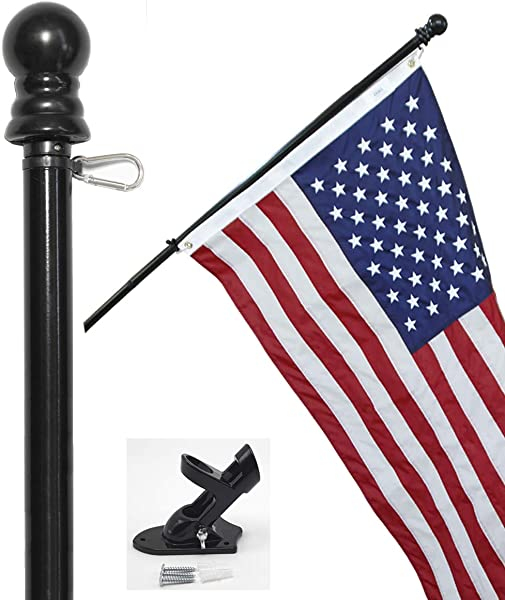 Flag Pole Kit Includes 3x5 Ft American Flag Made In USA 6 Foot Tangle Free Flag Pole And Flagpole Bracket
