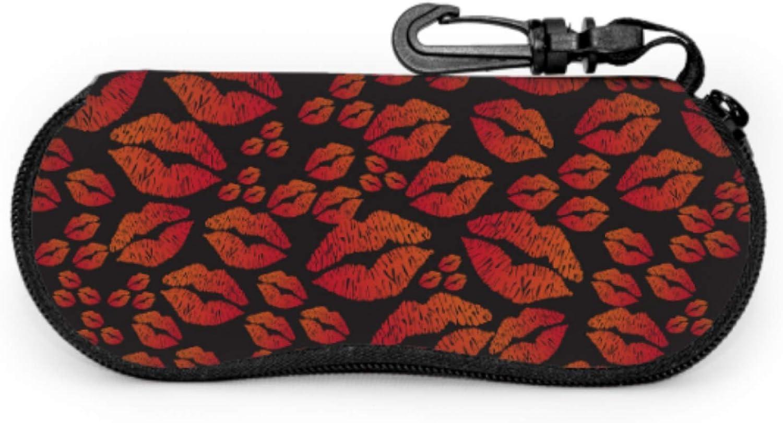 Heart-shaped Lips Eyeglass Case For Teens Zip Sunglass Case Light Portable Neoprene Zipper Soft Case Soft Eyeglass Case For Men