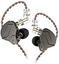 KZ ZSN Pro Dynamic Hybrid Dual Driver in Ear Earphones Detachable Tangle-Free Cable Musicians in-Ear Earbuds Headphones (Gray Without Mic)