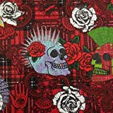 Stoff Meterware Baumwolle rot Skulls Totenkopf Rosen Karo
