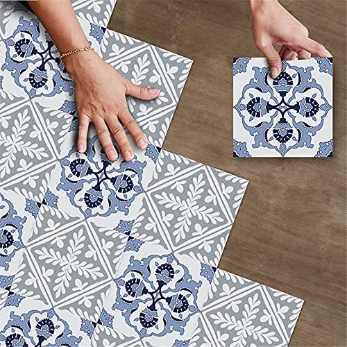 Hiseng 20 x 20cm Pegatinas de Piso Estilo Portugal Azulejo, Suelos de Vinilo PVC Autoadhesivas, Impermeable, Antideslizante Interior Decorativo de Hogar (Gris Azul,1 Juego de 10 Piezas)