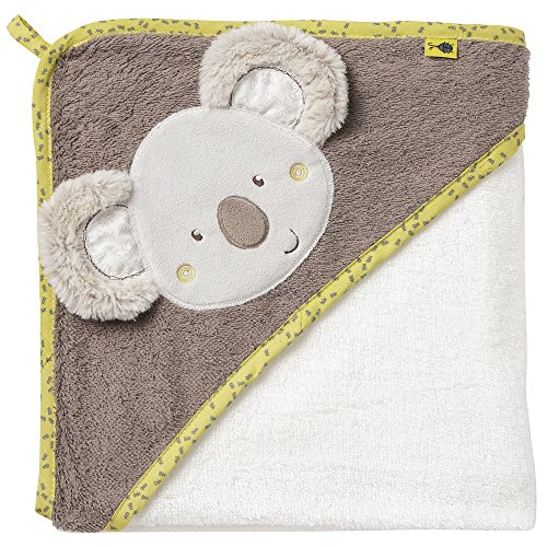 Fehn 064179 Kapuzenbadetuch Australia – Bade-Poncho aus Baumwolle mit süßem Koala für Babys und Kleinkinder ab 0+ Monaten – Maße: 80 x 80 cm