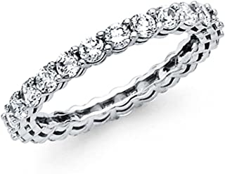 Universal Jewels 14k Solid White Gold Eternity Band Stackable Ring Channel Set Endless Wedding Band 2.6 MM