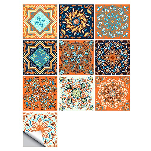 Pegatinas De Azulejos Cuadrados De Mosaico Autoadhesivas Patrón Vintage Arte Suelo Diagonal Baño Cocina Accesorios Decorativos 15x15cm