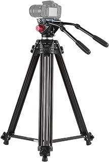 Andoer Video Camera Tripod with Dual Handled Fluid Hydraulic Head, 180cm/72 Max Load 8kg Professional Aluminum Alloy Tripod for Canon Nikon Sony DSLR Camera Camcorder