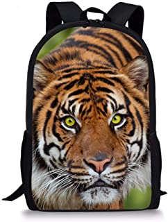 Coloranimal Teens Boys Shoulder Backpack 3D Tiger Printed School Bookbag Bagpack (Color : Colorful Geometry, Size : -)