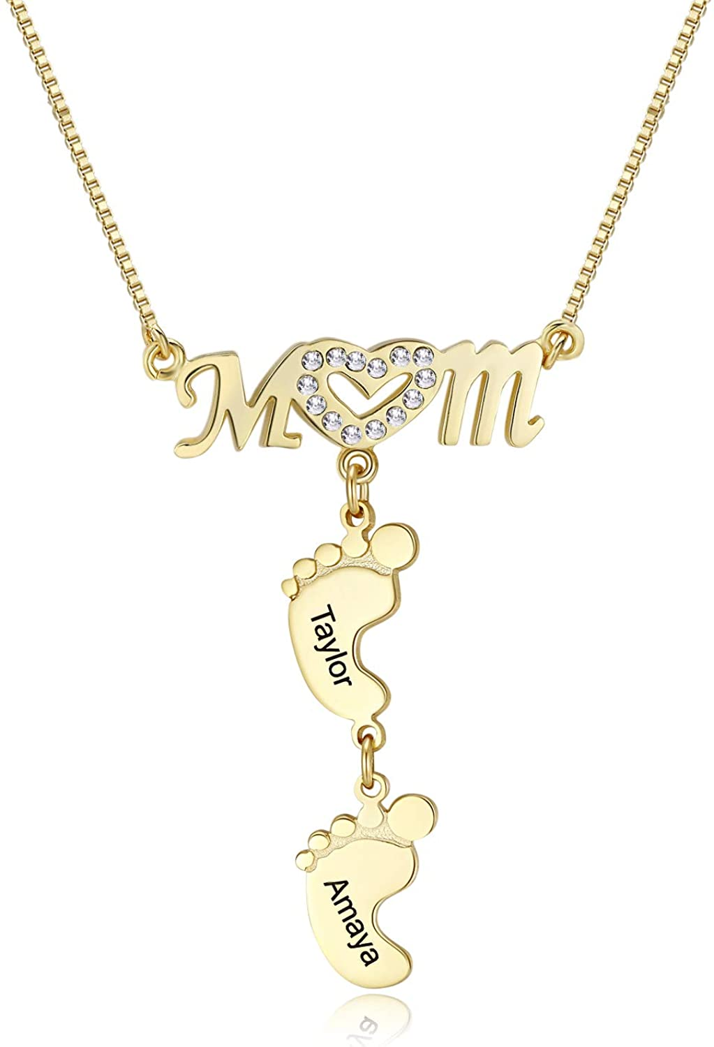 RESVIVI Personalized Mom Heart マート Symbol Necklace F 安心の定価販売 with Child Name