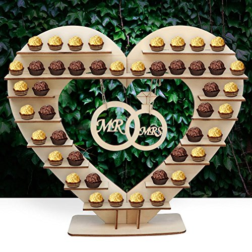 """AerWo""""Mr & Mrs"""" Chocolate Stand, Ferreo Rocher Wooden Chocolate Stand, Hershey Kisses Wedding Candy Stand, Perfect Decoration for Wedding Reception"""
