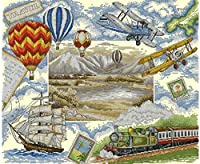 クロスステッチカウントキットスタンプキット家の装飾のためのクロスステッチパターン11Ct生地刺繡工芸品針仕事キット熱気球の風景16X20インチ