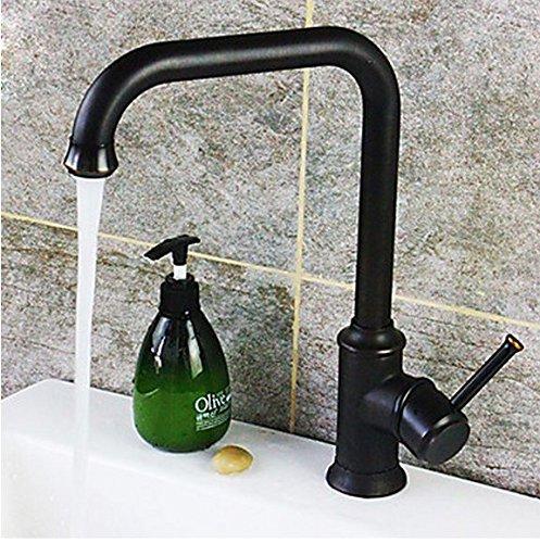 Hiendure® 360° Rubinetto miscelatore lavabo alto in ottone monocomando per bagno e cucina(acqua fredda e calda) miscelatore rubinetto cucina con flessibili monoforo