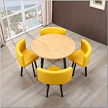 Simple Furniture - Q 5-Piece Modern Round Vintage Negotiation Home Table Chair Combination Easy Reception Leisure Leather ...