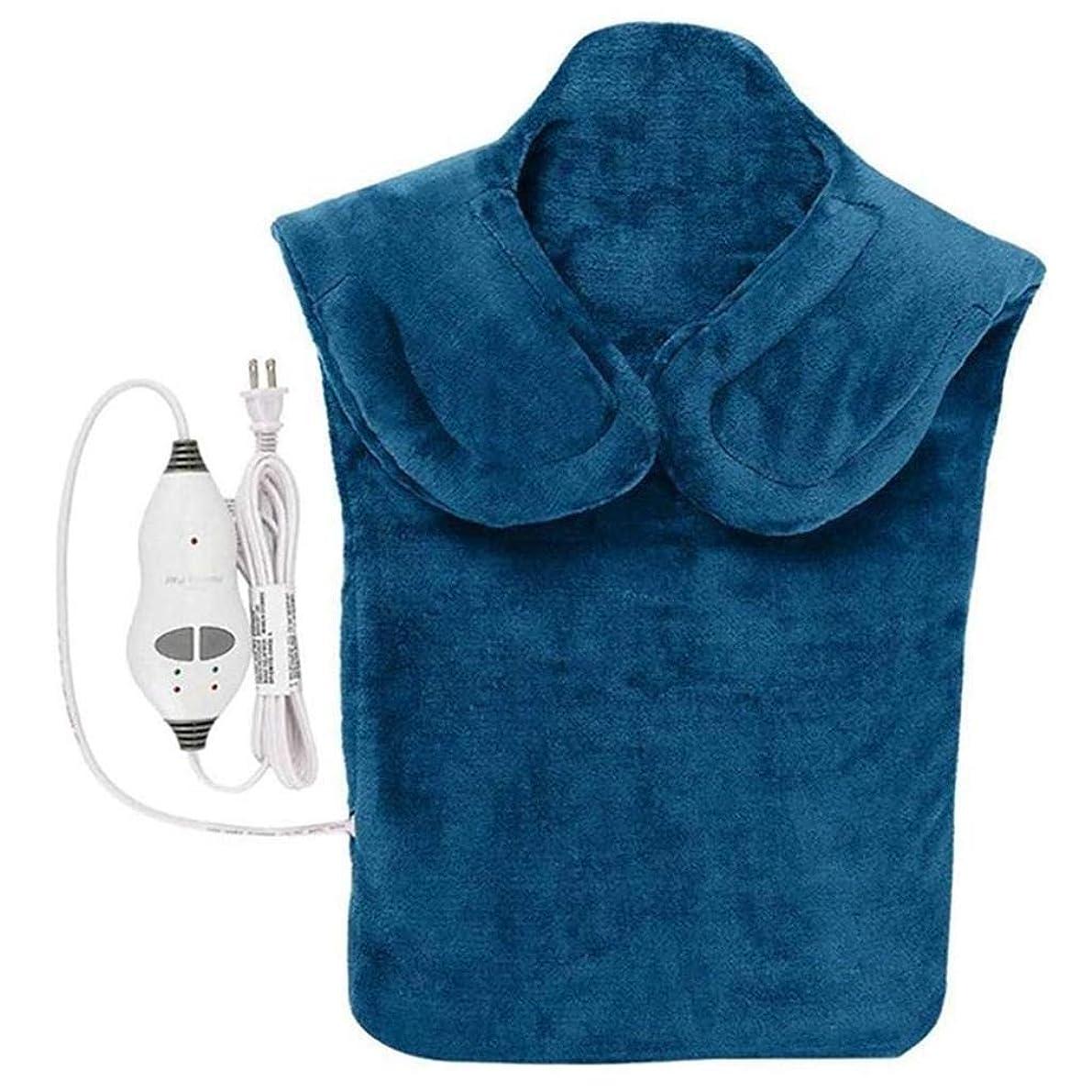 航空会社ガム適用するネックマッサージャー、電気マッサージ器、首暖房パッド、フランネルヘルスケアパッケージ首/肩/戻る血液循環を促進、筋肉の痛みを和らげる、暖かい保つために (Color : 青, Size : One size)