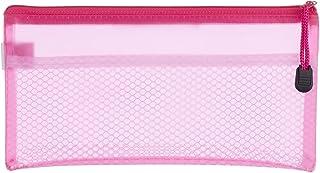 مقلمة قماش بسوستة، 12×23 سم - بينك