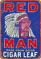 タバコを噛む赤い男 金属板ブリキ看板警告サイン注意サイン表示パネル情報サイン金属安全サイン