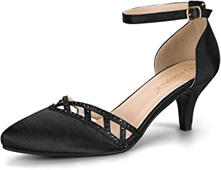 Allegra K Women's Dance Ankle Strap Satin Kitten Heels Pumps