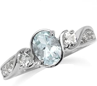 Silvershake Genuine Gemstone White Gold Plated 925 Sterling Silver Twisted Engagement Ring
