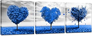 Innopics 3 Panel Heart Shaped Tree Canvas Painting Blue Romantic Love Tree Picture Print Black and White Horizon Wall Art Gallery Wrapped Artwork Home Decor Framed for Living Room Kitchen Decoration