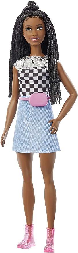 Amazon Com Barbie Big City Big Dreams Barbie Brooklyn Roberts Muneca 11 5 Pulgadas Pelo Trenzado Morena Con Parte Superior Brillante Falda Y Accesorios Regalo Para Ninos De 3 A 7 Anos Juguetes Y Juegos