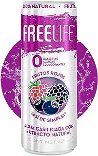 Agua gasificada con extracto natural de Frutos Rojos, cero azúcar, cero calorías y sin endulzantes, FREELIFE, 355 ml, Paqu...