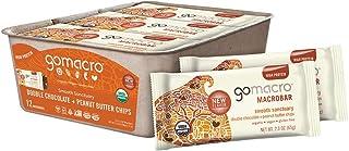 GoMacro MacroBar Organic Vegan Protein Bars - Double Chocolate + Peanut Butter Chips (2.3 Ounce Bars, 12 Co...