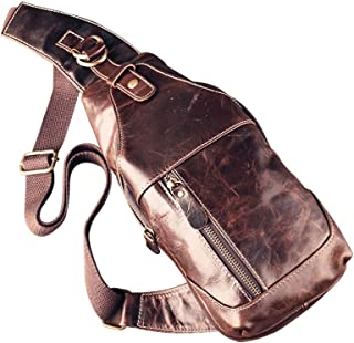 ZE Men's Vintage Genuine Leather Chest Bag Shoulder Sling Unbalance Backpack Cross Body for Outdoor Use
