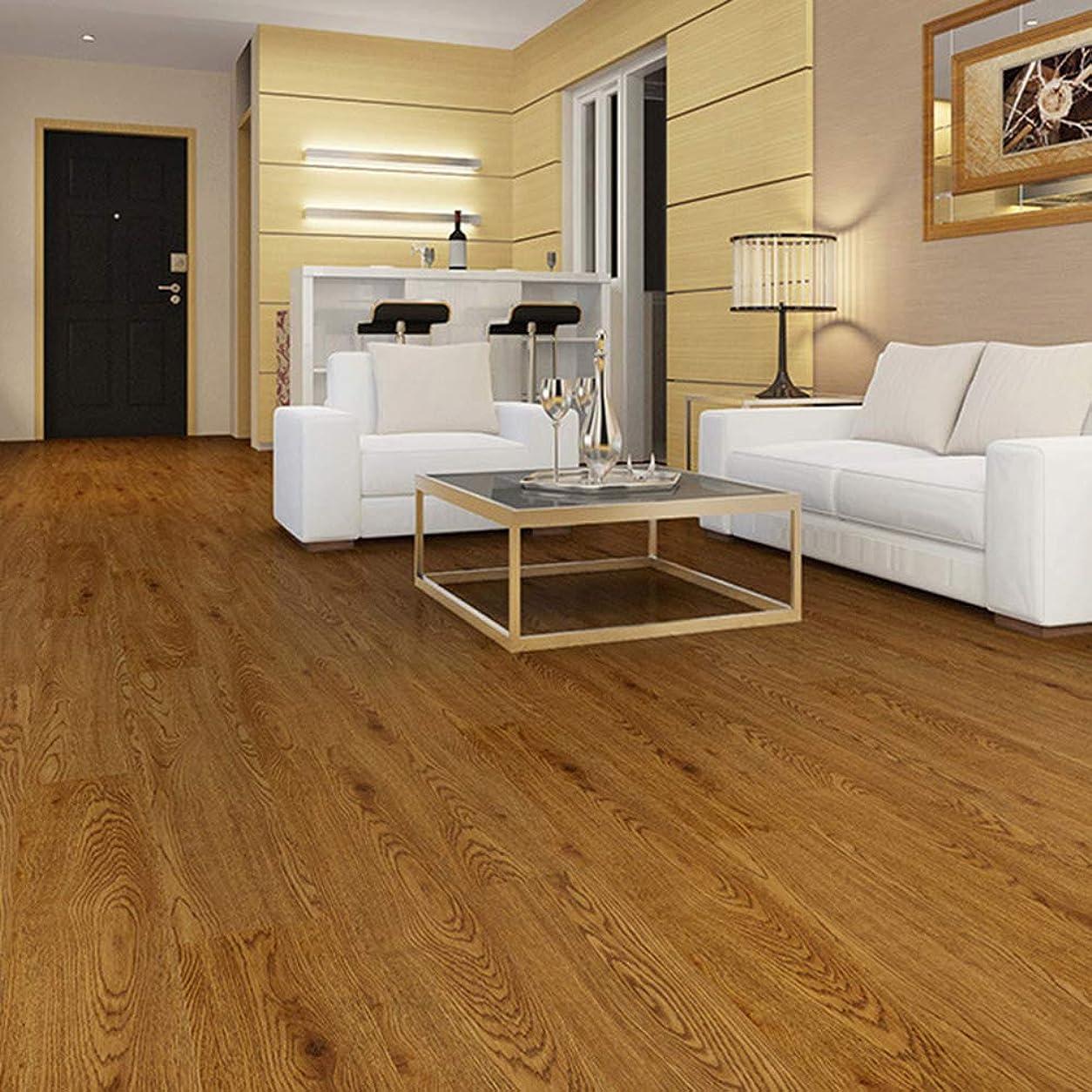 物理学者群れ協定ビニールの自己接着床、寝室の防水性と耐摩耗性のPVC床ステッカー、接着剤付きのリビングルームの模造木目装飾背面2mm厚の床革(1m2には7個が含まれています)