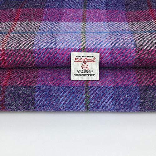 Harris Tweed Autentico Rosa Viola Lilla Check 100% Pura Lana Tessuto, Made in Scotland, Tartan, Merceria, 1 Etichetta Inclusa (50 cm x 75 cm)